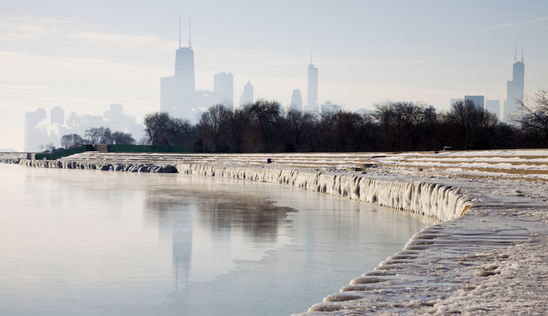 Chicago frozen icy water
